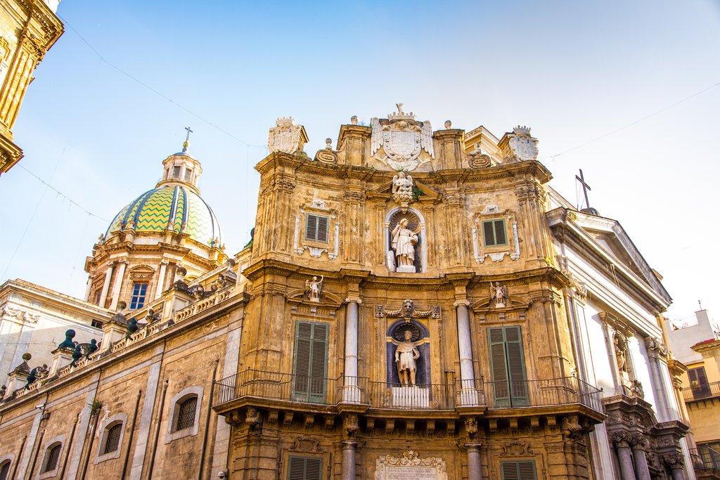 Italy - Sicily - Palermo - Palermo's Baroque Piazza Vigliena (Quattro Canti)