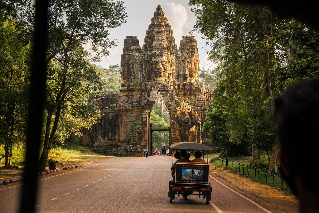 One of the five ancient gateways to Angkor Thom city