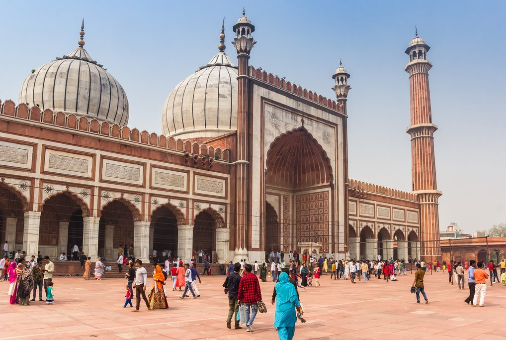 Domes and minaret of the Jama Masjid mosque