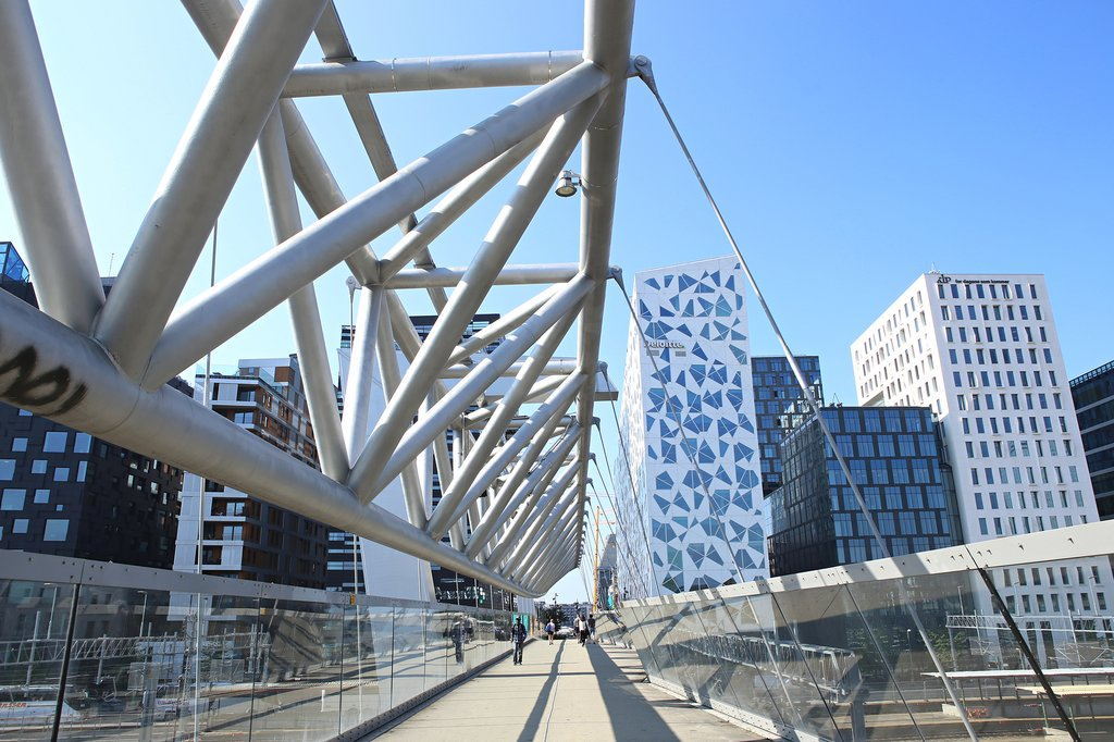 The Akrobaten pedestrian bridge in downtown Oslo.