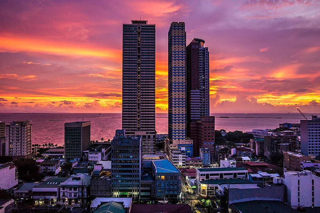Sunset view of the Manila skyline