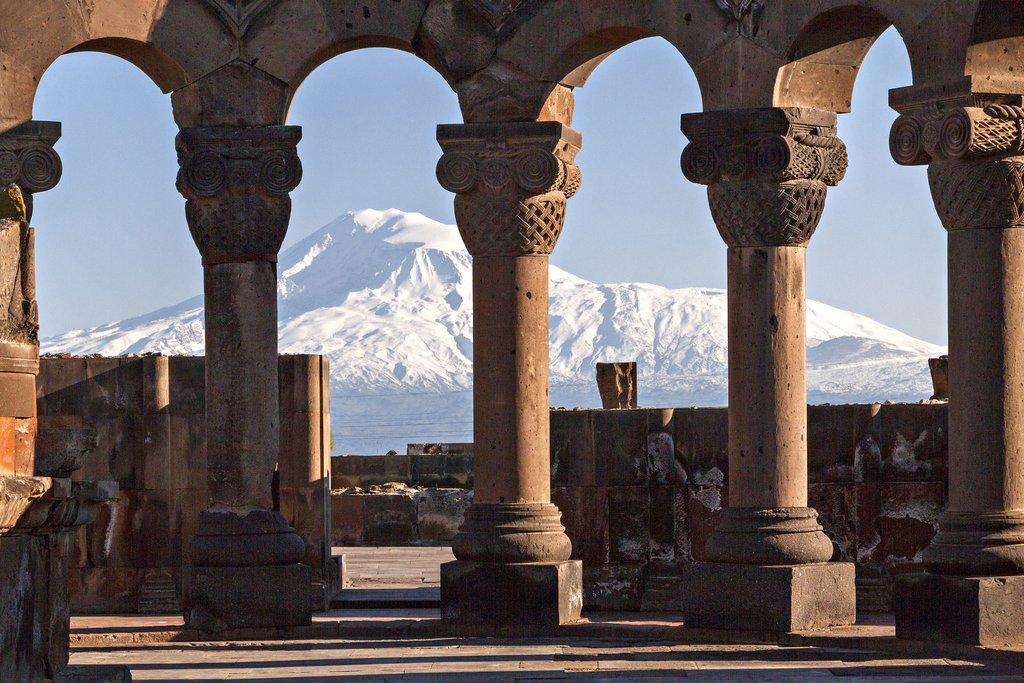 Mount Ararat through the columns of Zvartnots Cathedral