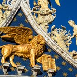 Winged lion and angels on top of St. Mark's Basilica