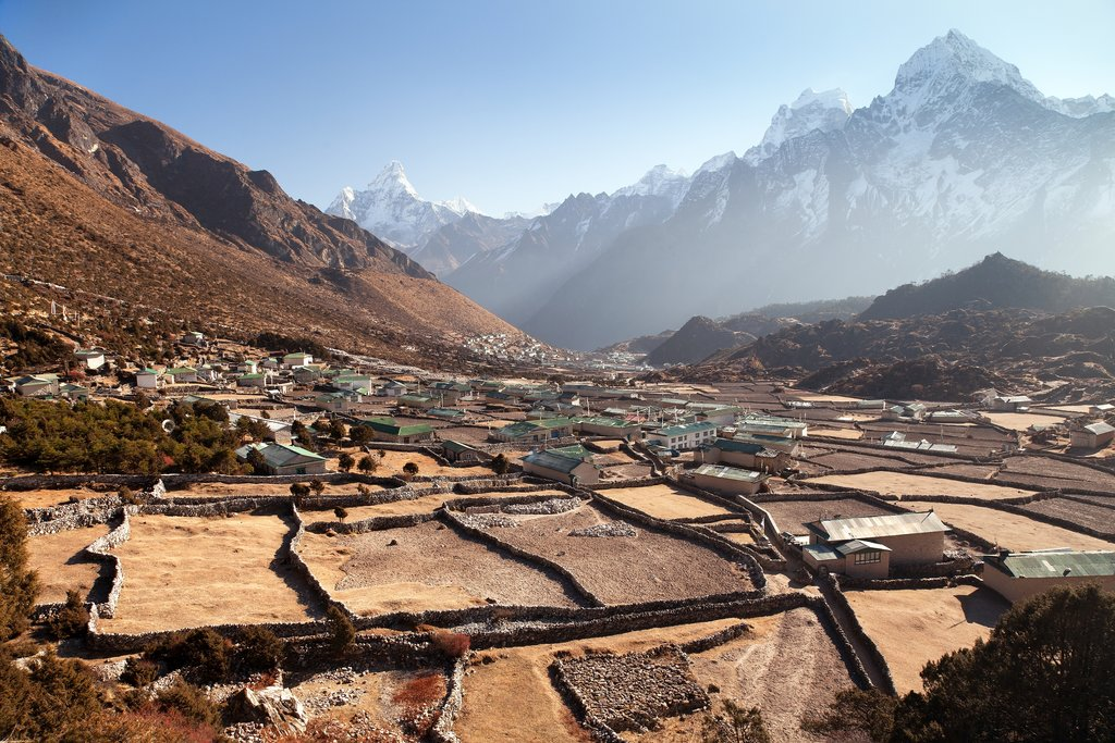 View of Khunde and Khumjung villages