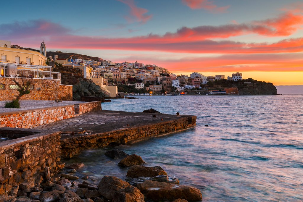 Sunset overlooking the vaporia district of Ermoupoli town on Syros