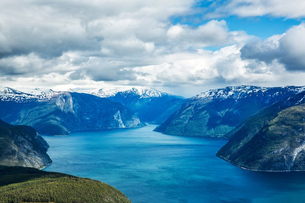 The stunning Sognefjord, Norway's deepest and longest fjord.