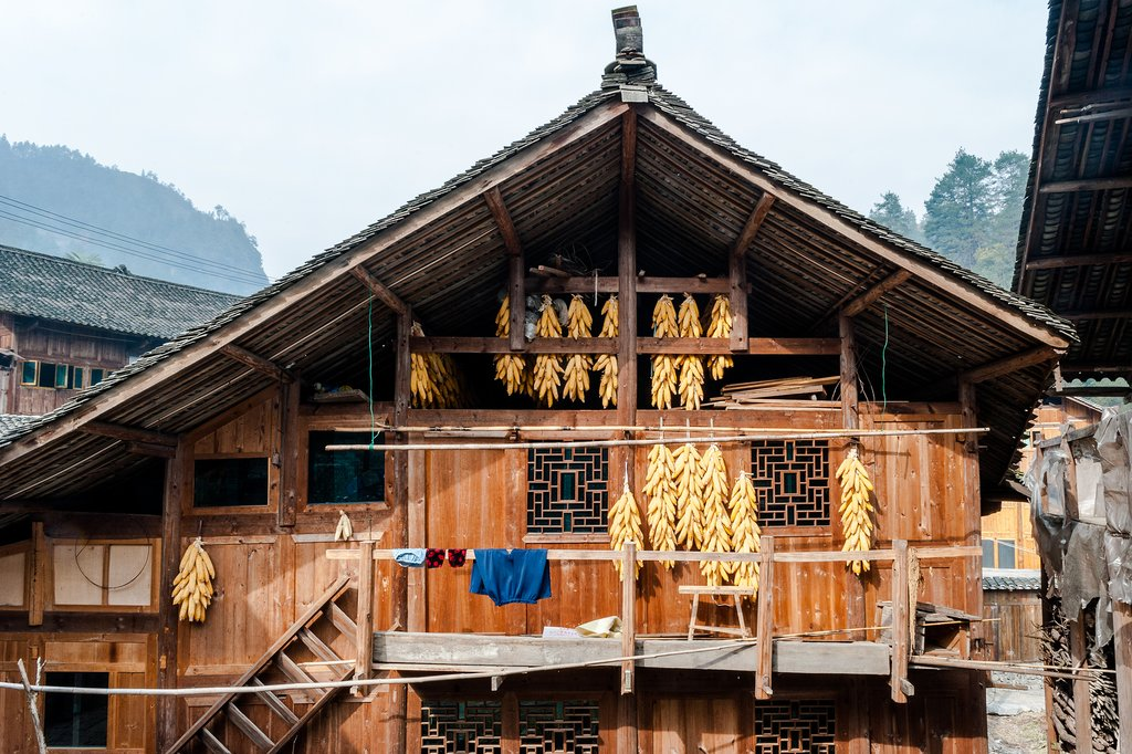 Traditional Wooden House in Langde Miao Village