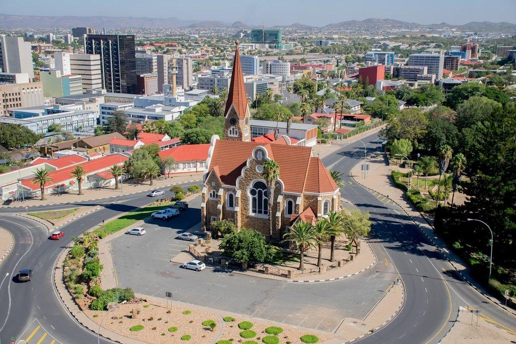 Aerial view of church in Windhoek, Namibia