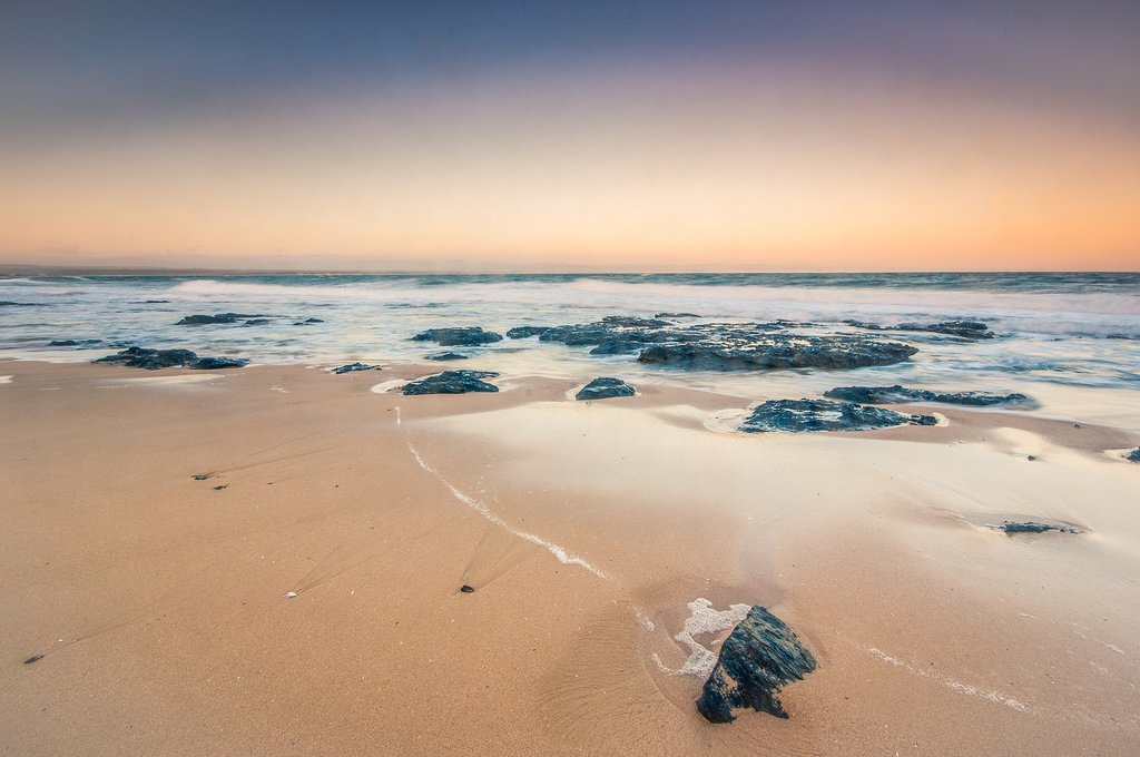 A view of Jeffreys Bay beach at sunrise