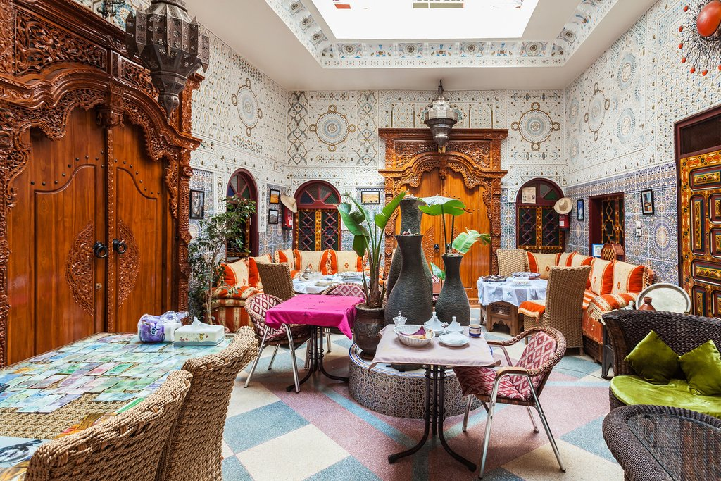 The interior of a traditional riad (a house-turned-hotel) in Marrakech