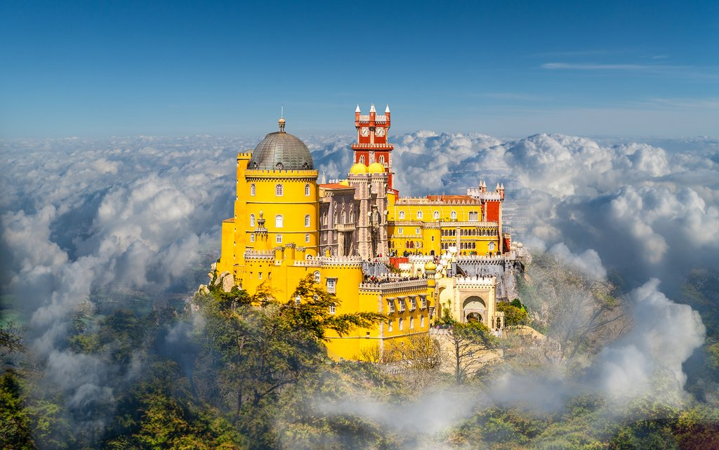 Pena Palace peeks through the clouds