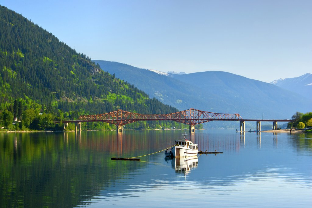 Fishing boat on Kootenay Lake and