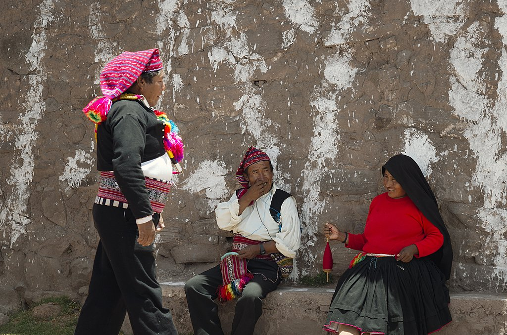 The mayor of Taquile Island greeting residents