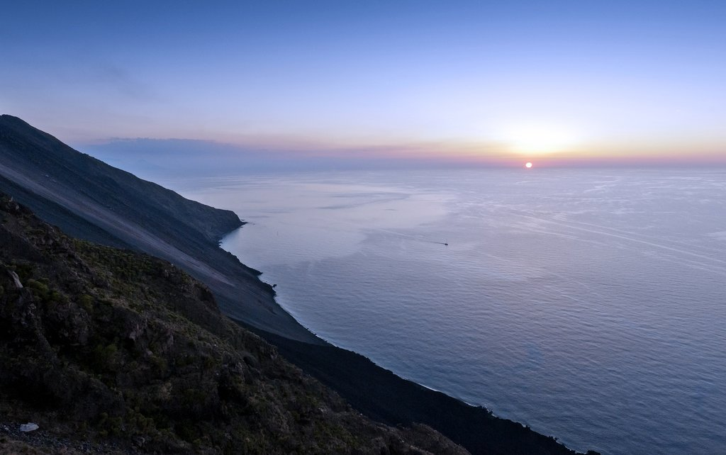 Italy - Sicily - Stromboli - The foot of Mount Stromboli during sunset