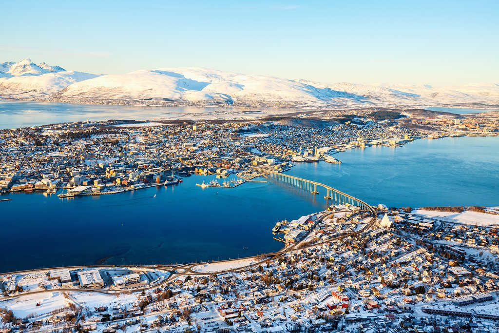 An aerial view of Tromsø in northern Norway.