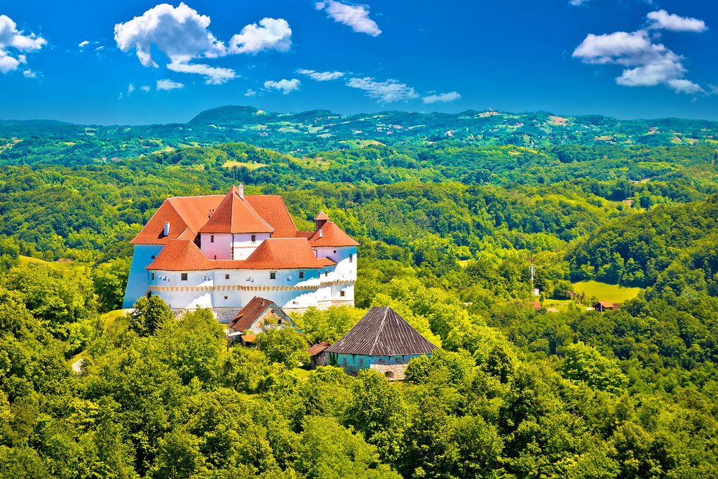 Veliki Tabor Castle in the rollings hills of Zagorje county