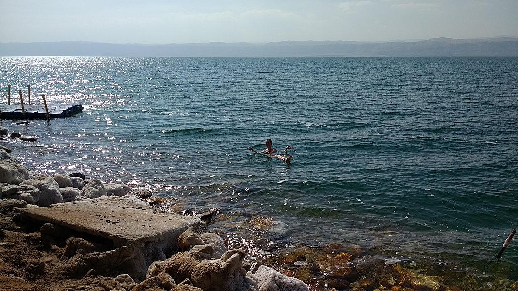A person floating in the Dead Sea