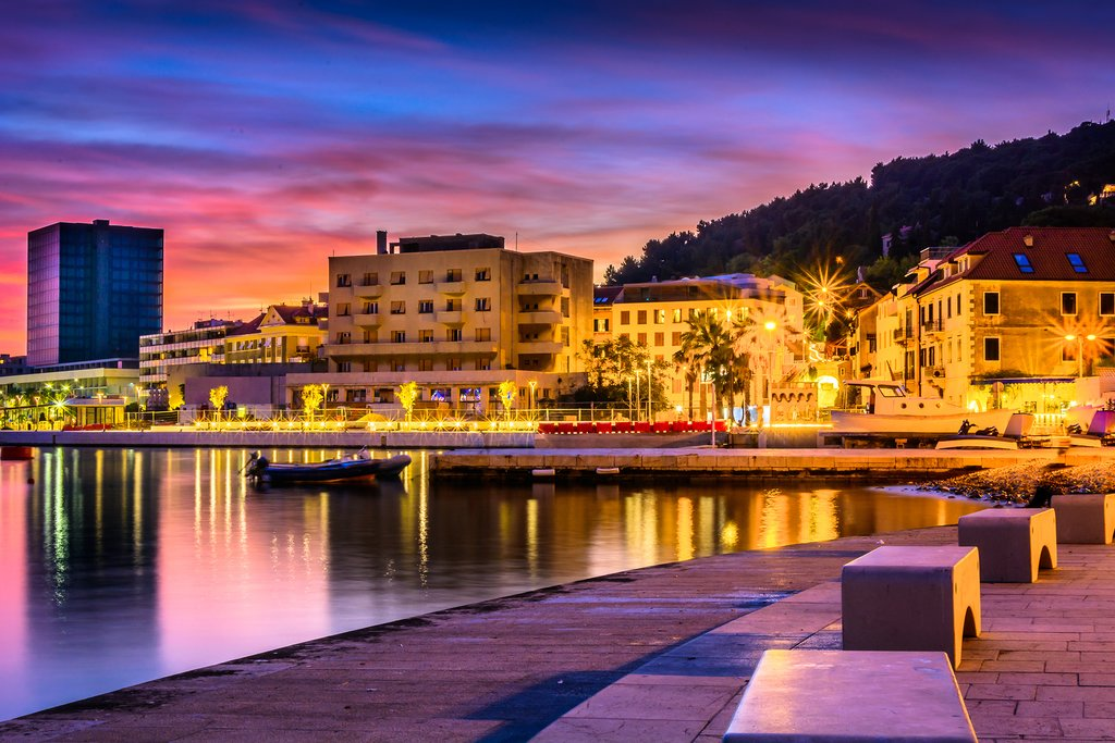 Evening view of the town Split, Croatia