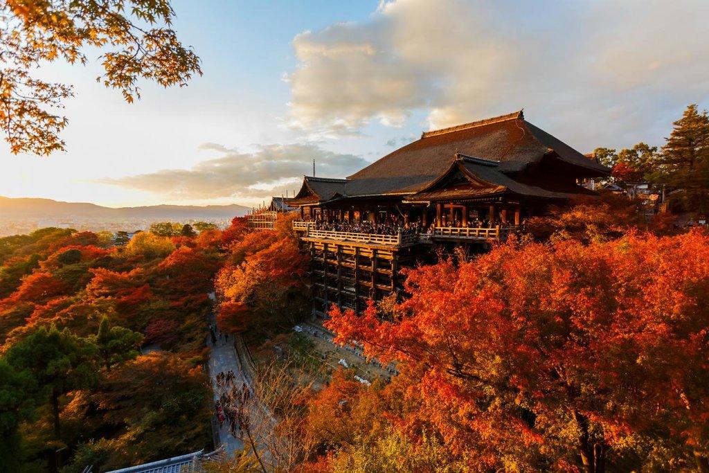 Autumn view across Kyoto's Kiyomizu-dera Temple.