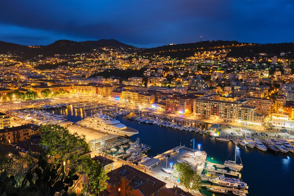Nighttime in the old port of Nice