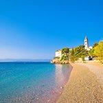 A pebble beach near Bol on the island of Brač