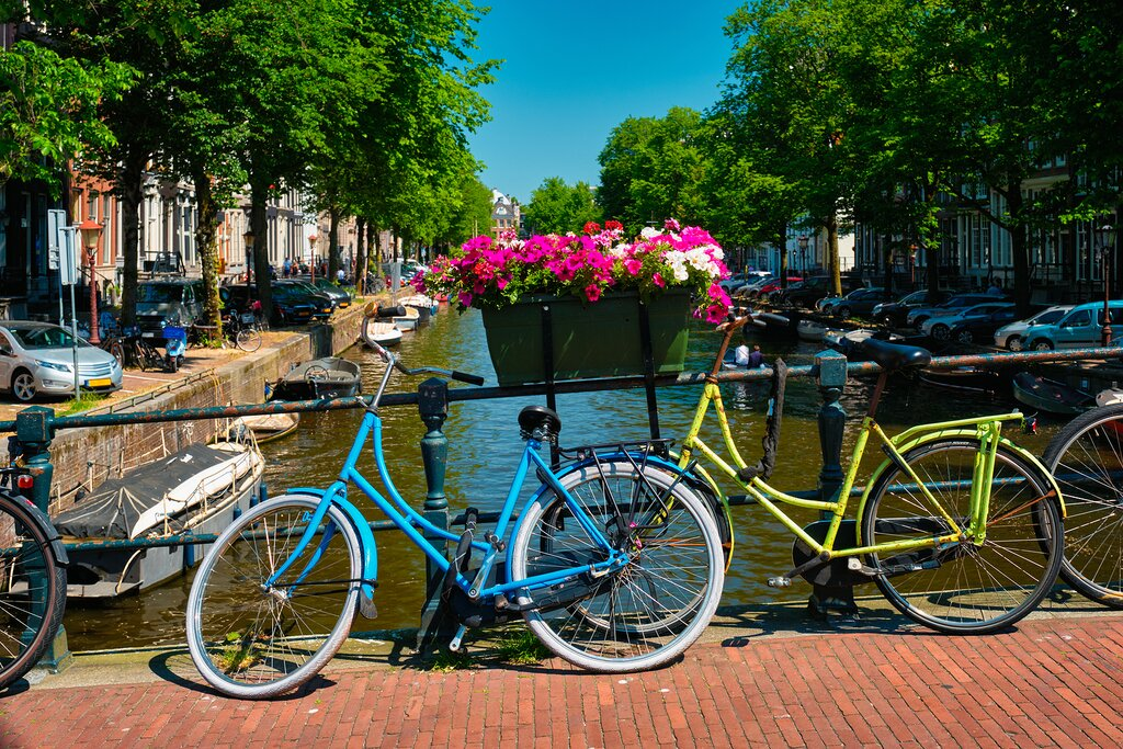 Bicycles beside the canals of Amsterdam