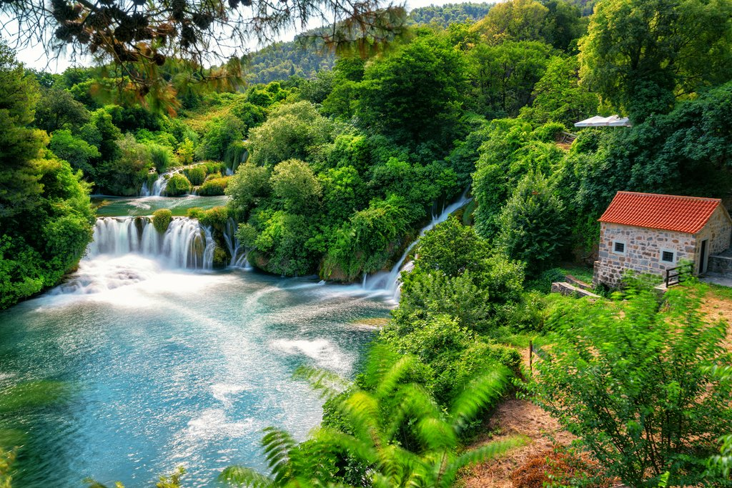 Scenic waterfalls in Krka National Park
