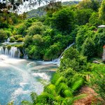 Waterfalls and a stone mill in Krka National Park