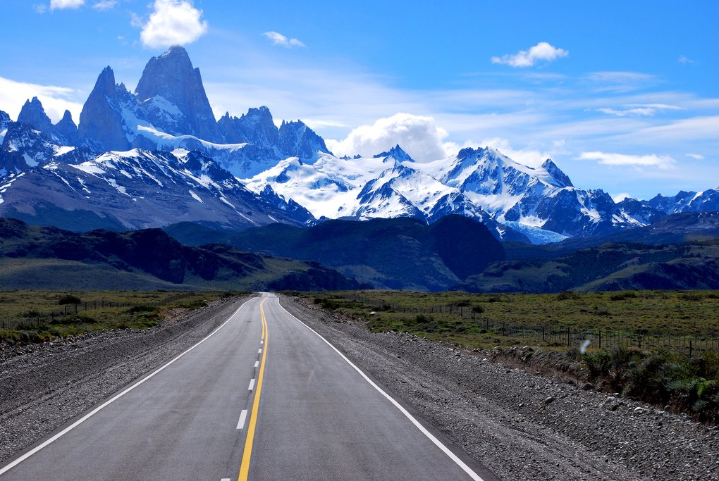 The road into El Chalten with Mt. Fitz Roy in the distance