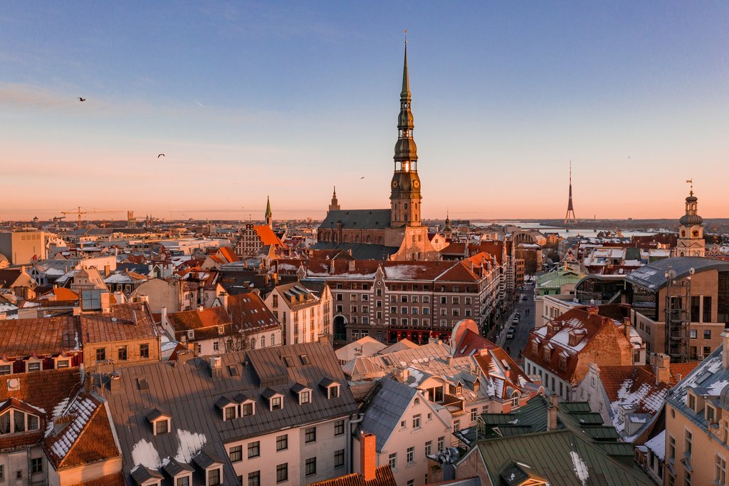 Riga cityscape, with the Dom Cathedral