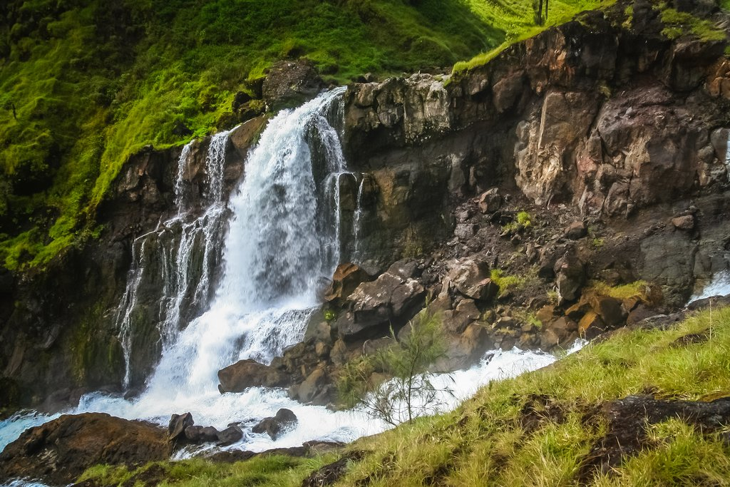 Waterfall from a volcanic crater lake