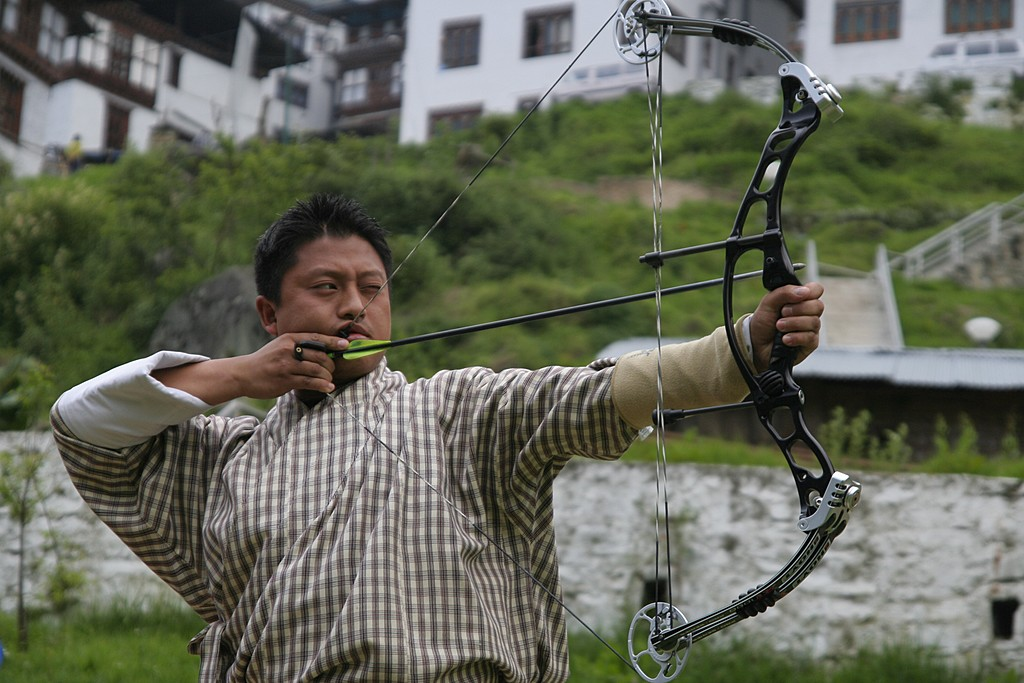 A local archer at Changlimithang Stadium