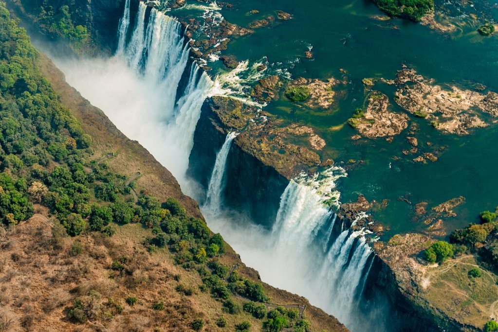 Aerial view of Victoria Falls from a helicopter