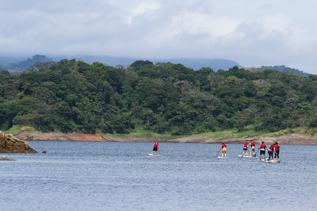 Paddleboarding on Lake Arenal