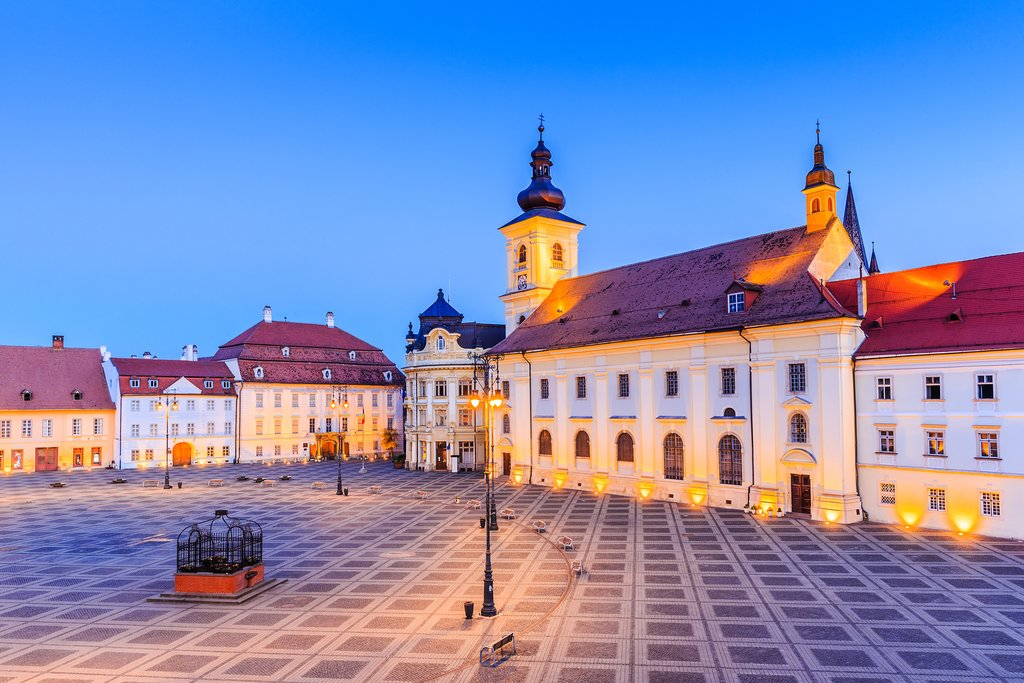 Large Square (Piata Mare) with the City Hall and Brukenthal palace in Transylvania