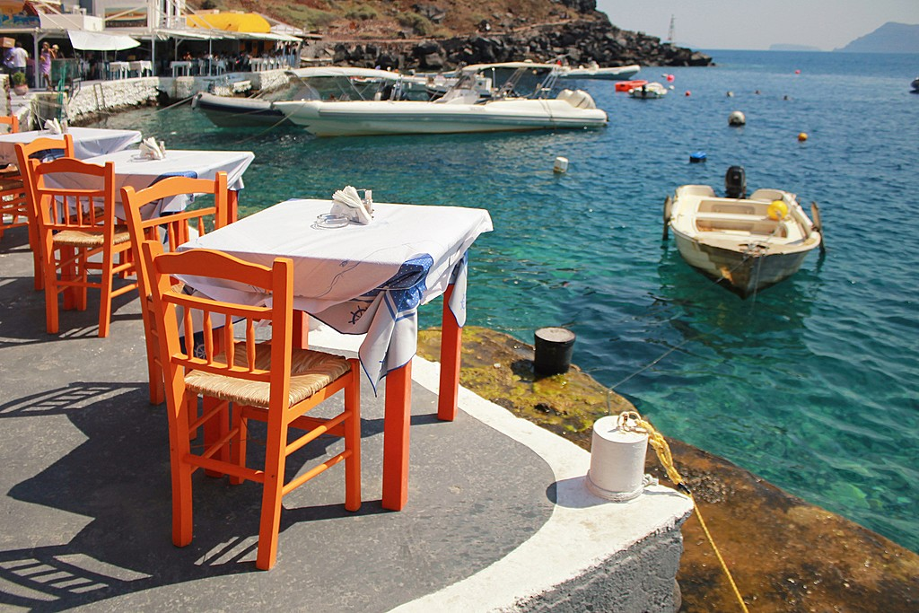 Waterfront dining in Santorini