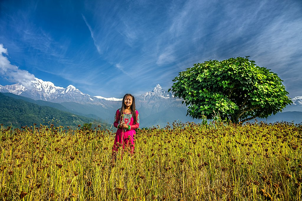 Young Gurung girl in the fields near Dhampus