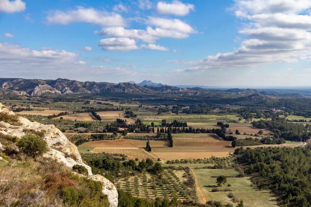 Valley between Les Baux de Provence and the Alpilles Mountains