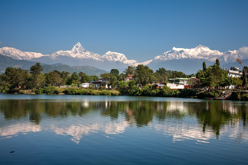 Phewa Lake, with the city of Pokhara along its shores