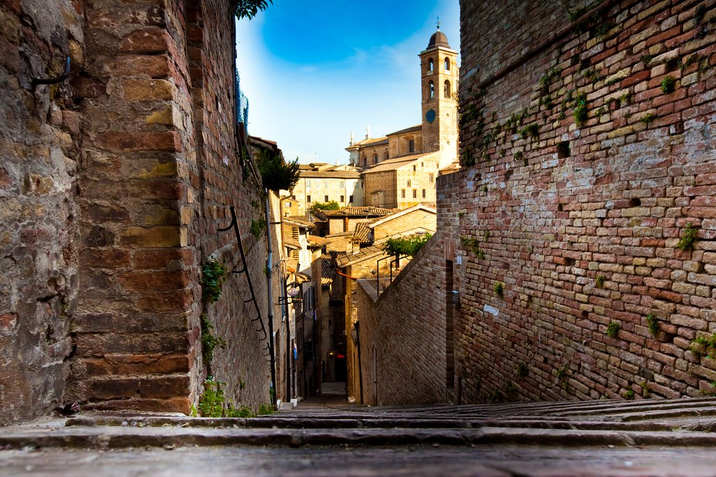 The atmospheric alleys of medieval Urbino.