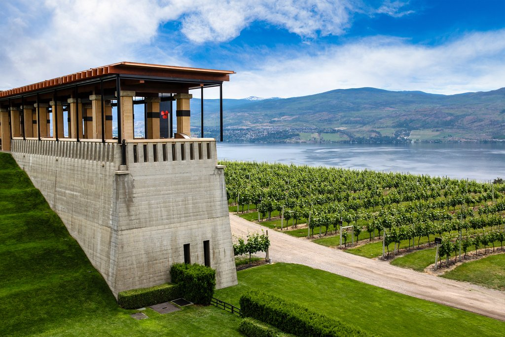 Terrace overlooks Lake Okanagan and vineyards of Mission Hill Family Estate