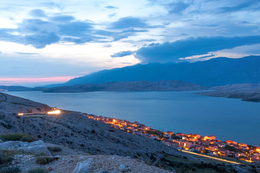 Twilight over the town of Pag