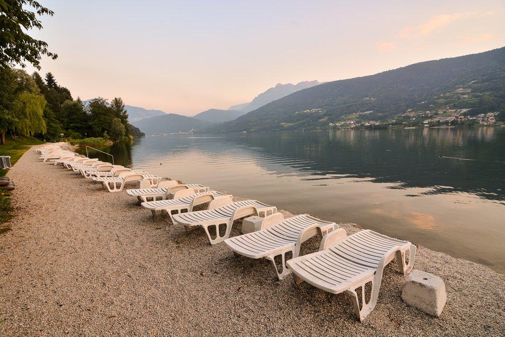Relaxing area on the shore of Lake Caldonazzo