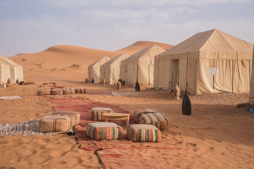 Camp among the sand dunes in Erg Chebbi