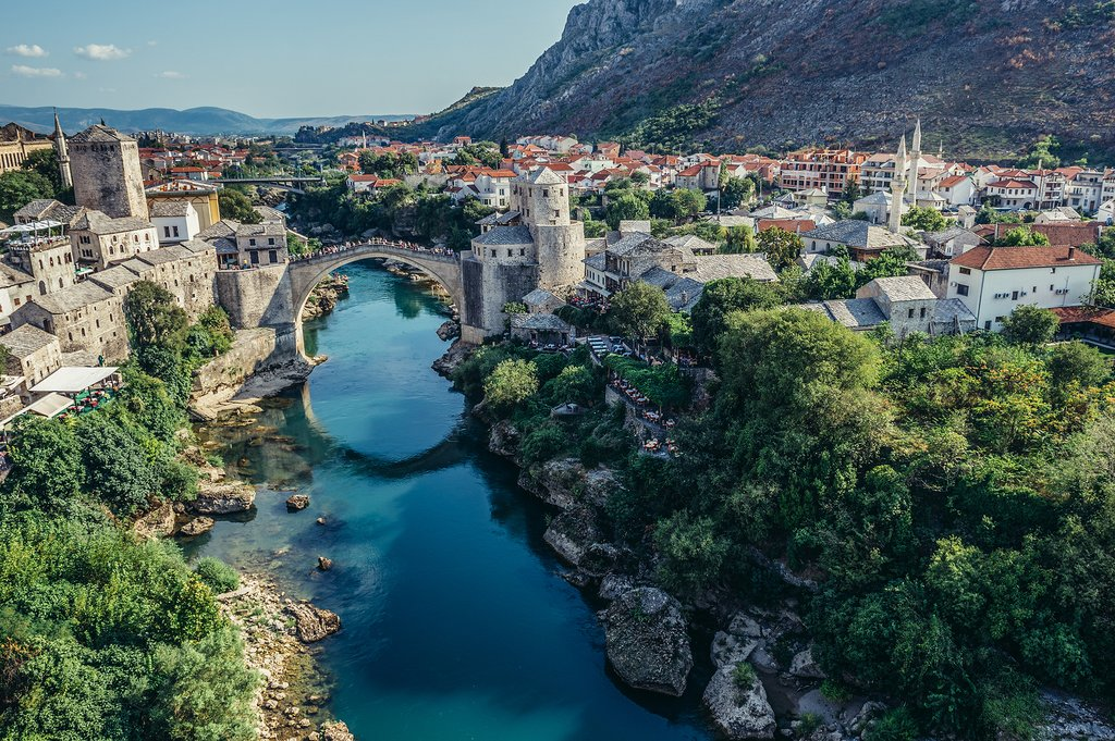 Stari Most and surrounding Mostar