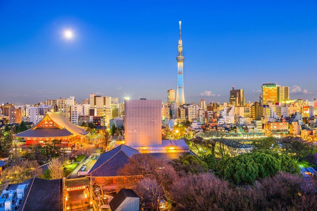 Tokyo Skyline and Sensoji Temple