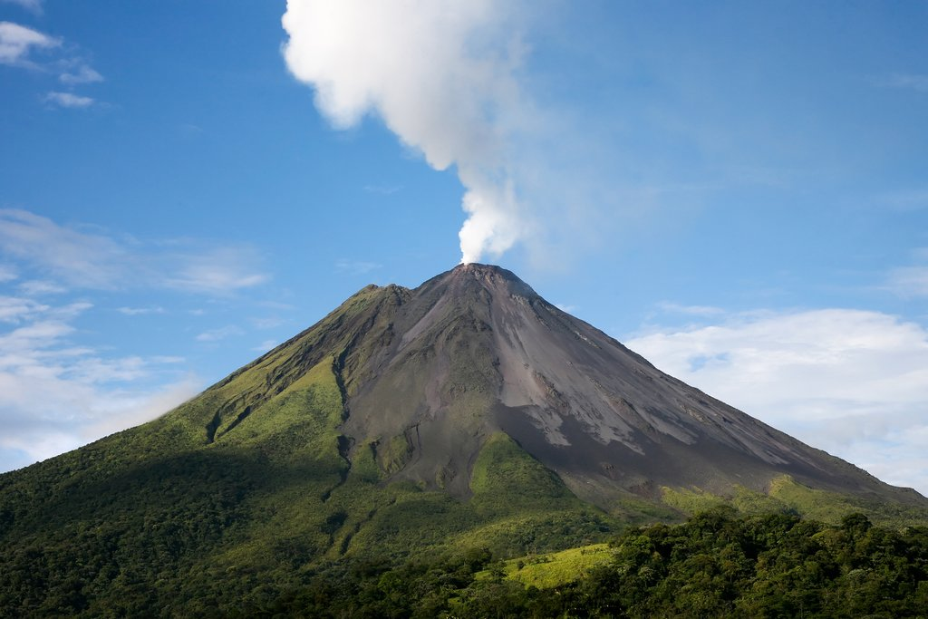 Smoke rising from the Arenal Volcano