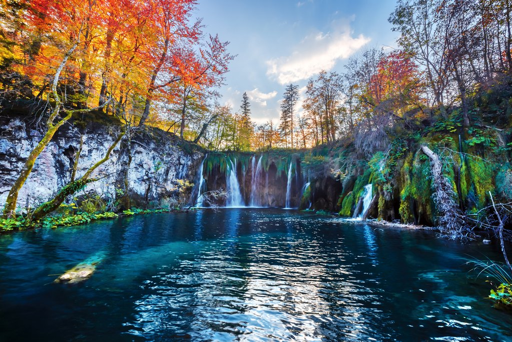 Waterfalls at Plitvice Lakes in autumn