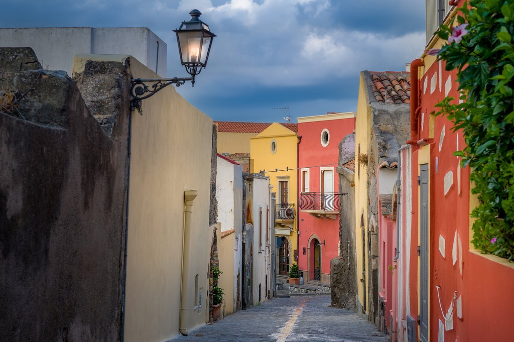 Italy - Sicil y- Colorful Milazzo street