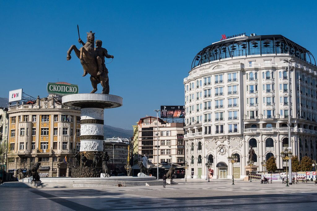 Alexander the Great monument in the Skopje city center